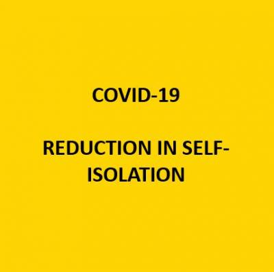 COVID-19 Reduction in Self-Isolation